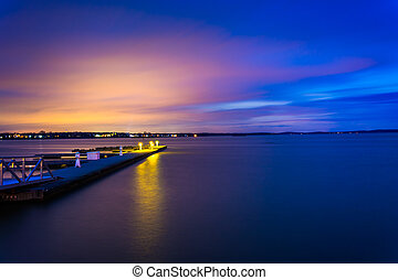 Docks on the Chesapeake Bay at night, in Havre de Grace, Maryland.