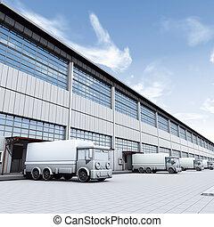 Illustration 3D, Docks with truck
