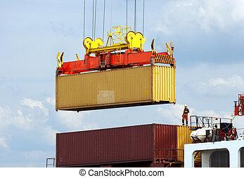 dockworker, sur, navire porte-conteneurs