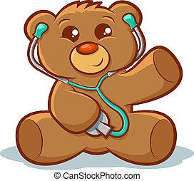 Docter Teddy bear - Cute stuffed teddy bear using a...