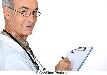 docteur, à, a, presse-papiers
