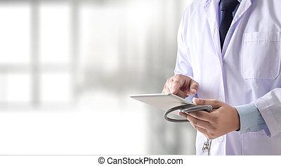 docteur, écoute, quelque chose, reussite, intelligent, monde médical, stethoscope., docteur, dur, working., homme, docteur, concept, dans, hospital., et, espace copy