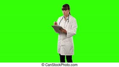 docteur, écran, côté, femme, résultats, vue, vert, vérification, quelques-uns