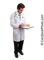 docteur, écriture, haut, disque patient