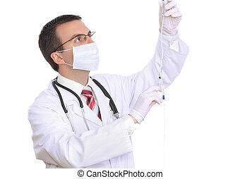 docteur, attacher, seringue, médicament, ., isolé