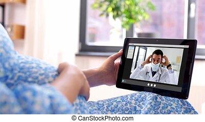 docteur, avoir, vidéo, pregnant, appeler, femme