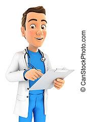 docteur, bloc-notes, 3d, écriture