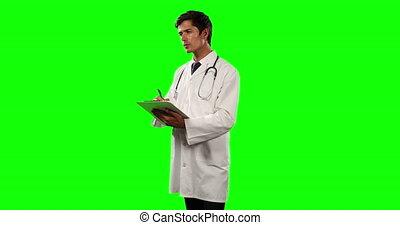 docteur, côté, utilisation, tablette numérique, vue, sien, vert, écran