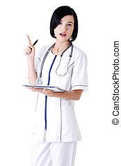 docteur, cahier, séduisant, étudiant, médecine, ou
