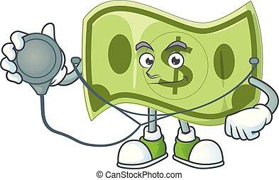 docteur, caractère, argent, dessin animé, mascotte, papier