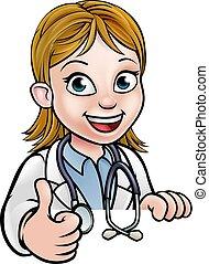 docteur, caractère, haut, pouces, dessin animé