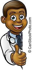 docteur, caractère, haut, signe, noir, pouces, dessin animé