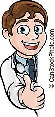 docteur, caractère, haut, signe, pouces, dessin animé