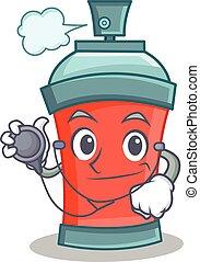 docteur, caractère, pulvérisation, boîte aérosol, dessin animé