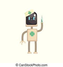 docteur, caractère, robot, illustration, sien, vecteur, mains, seringue, androïde, dessin animé