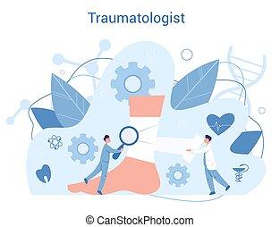 docteur., cassé, traumatology, blessé, os, cheville, ...
