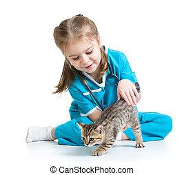 docteur, chat, chaton, girl, jouer, gosse