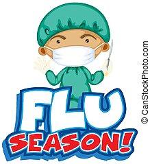 docteur, conception, grippe, police, mot, couteau, saison