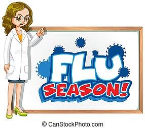 docteur, conception, grippe, police, mot, planche, saison