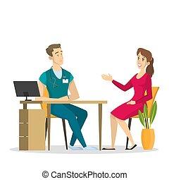 docteur., consultation, patient, femme, mâle