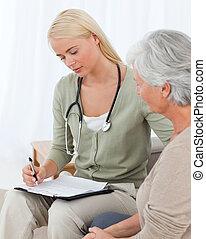 docteur, conversation, à, elle, patient