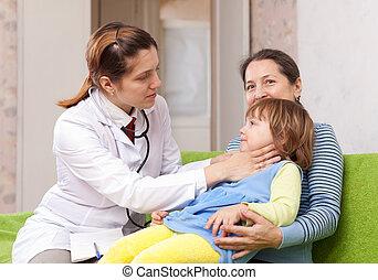 docteur, cou, bébé, toucher