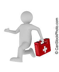 docteur, courses, à, aid., isolé, 3d, image