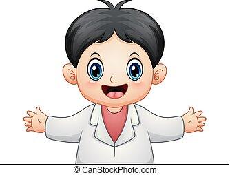 docteur, dessin animé, homme