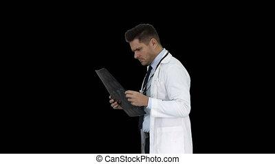 docteur, diagnostique, regarder, cerveau, mauvais, résultat, alpha, trouver, canal, mri