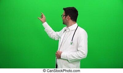 docteur, donner, écran, arrière-plan vert, présentation