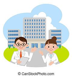 docteur, et, hôpital