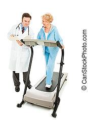 docteur, evaluates, personne agee, fitness