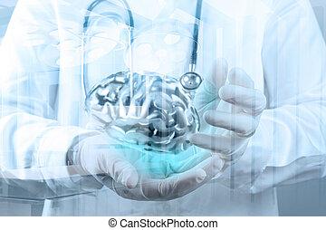 docteur, exposition, métal, main, cerveau, informatique, ...