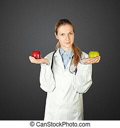 docteur féminin, à, deux, pommes