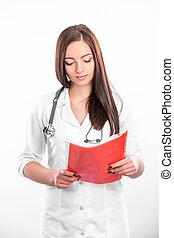 docteur féminin, à, dossier