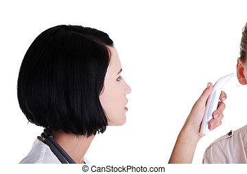 docteur féminin, vérifiant température, de, elle, patient