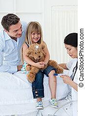 docteur féminin, vérification, patient\'s, réflexe