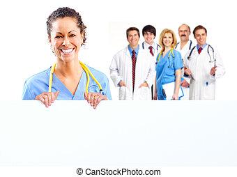 docteur, femme, à, a, banner.