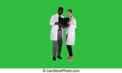 docteur femme, étude, chroma, écran, cerveau, américain, vert, key., sérieux, x, gentil, afro, rayon