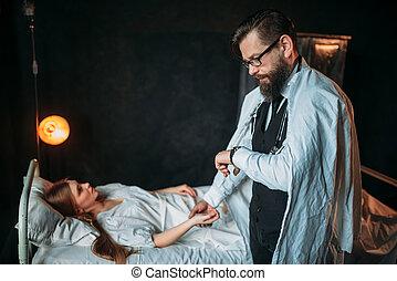 docteur femme, mesures, jeune, pouls, malade, mâle