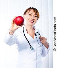 docteur, femme, pomme, rouges, donner