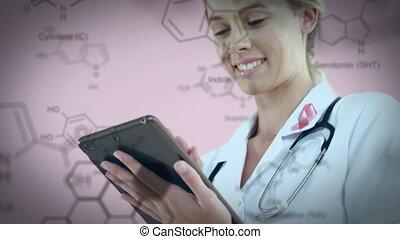 docteur, femme, utilisation, tablette