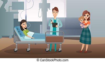 docteur femme, visite, patient.