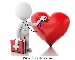 docteur, gens,  kit,  Stéthoscope, aide,  3D, premier
