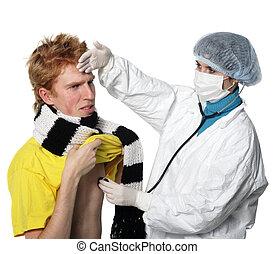 docteur, grippe, homme, coup, obtenir, sien