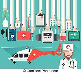 docteur, hélicoptère, conception, monde médical, plat, concept