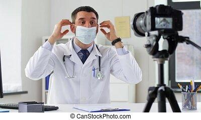 docteur, hôpital, masque, vidéo, blog, enregistrement