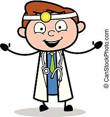 docteur, -, illustration, vecteur, mains, professionnel, dessin animé, élévation