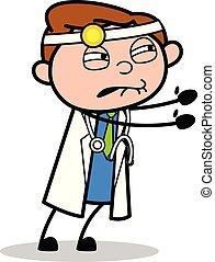 docteur, -, illustration, vecteur, tenant mains, professionnel, dessin animé