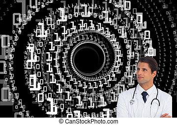 docteur, image composée, haut, bras, regarder, confiant, traversé, fond, blanc